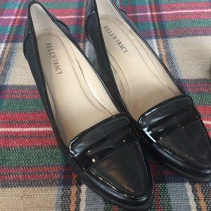 Ellen Tracy Black leather wedge Size 8.5M Heel 2.5